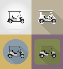 golf car flat icons vector illustration
