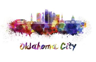 Oklahoma City V2 skyline in watercolor