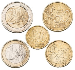 Set of Euro coins.