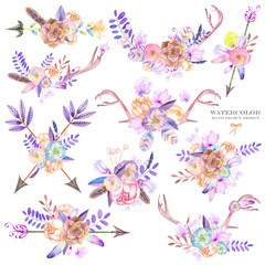 Bouquets with the watercolor floral elements: succulents, flowers, antlers, leaves, feathers, arrows and branches, on a white background, for a greeting card, a decoration of a wedding invitation