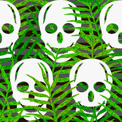 Skulls seamless pattern with green leaves. Halloween background