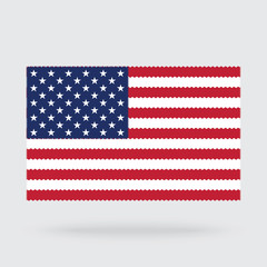 USA flag cross stitch isolated on background, needlework