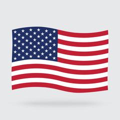 USA waving flag isolated on background