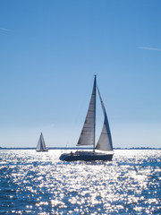 sailing boats navigating in the sea in summer with sun reflectio