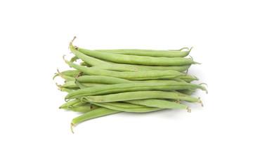 Grüne Bohnen, Freisteller auf weissem Hintergrund
