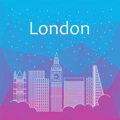 London for banner, poster, illustration, game, background.