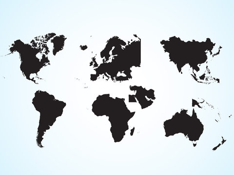 The continents of the planet earth. Asia, Europe, Australia, Middle East, Africa, North America, South America. Silhouette of the continent. Geographical location. Education.