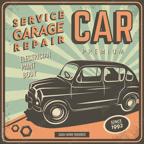 Vector illustration with the image of an old classic car for Credit auto garage volkswagen