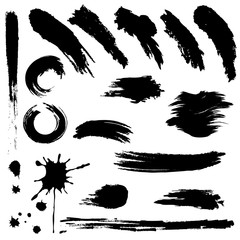 Set of black paint, ink brush strokes. Grunge brush stroke. Dirty brush stroke.