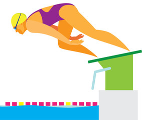 Young woman swimmer at the start of the competition