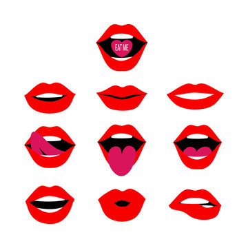 Woman red lips set. Mouth with a kiss, smile, teeth, laugh, tongue up and down, open mouth with Eat Me lettering on candy. Vector flat design elements isolated on white background.