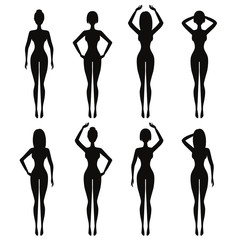 Beautiful fit woman silhouettes in standing poses. Model black lit vector girls shapes isolated on white