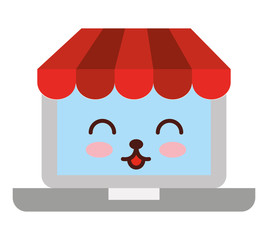 laptop ecommerce character kawaii vector illustration design