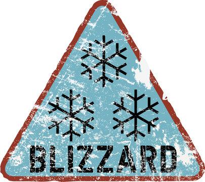 blizzard warning sign, vector illustration,