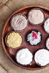 Sea Salt Different Grinding in Bowls on Light Background