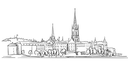 Stockholm Panorama Famous Outline Landmark Sketch