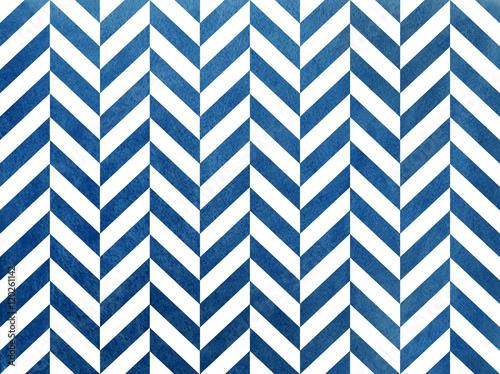Watercolor dark blue stripes background, chevron