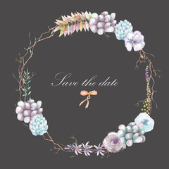 A circle frame, wreath with watercolor plants and succulents, hand drawn on a dark background, a greeting card, a decoration postcard or wedding invitation