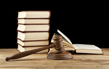 books and wooden gavel