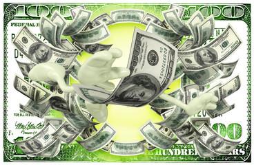 Money Man With Cash Behind
