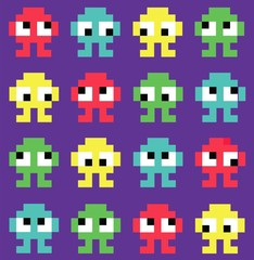 Pixel art. monsters. Seamless background