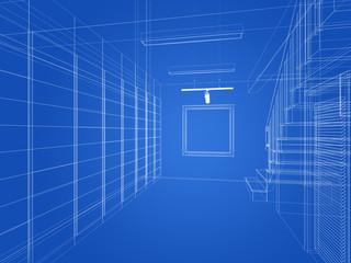 sketch design of interior stair hall ,3d rendering