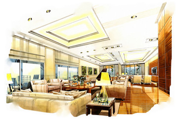 sketch perspective interior living into a watercolor on paper.