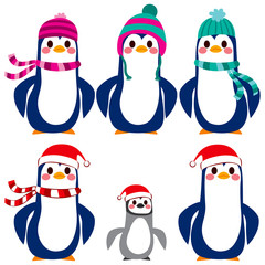Adorable penguin character collection wearing warm wool hat and scarf