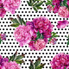 Hand drawn pink peonies bouquet seamless pattern
