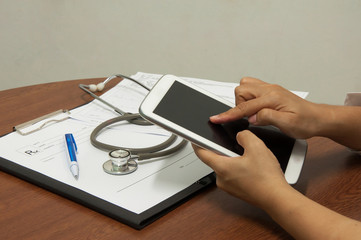 nurse working with tablet