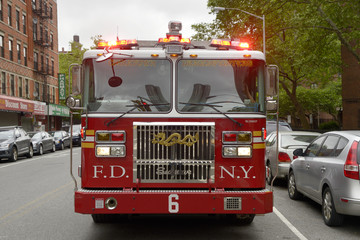Firetruck in Chinatown, New York