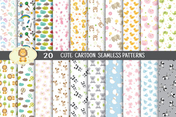cute cartoon seamless patterns.pattern swatches included for illustrator user, pattern swatches included in file, for your convenient use.