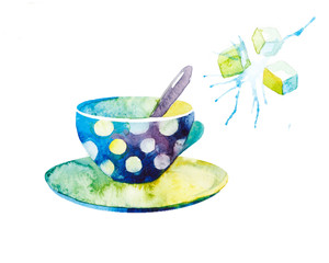 watercolor illustration of tea with mint