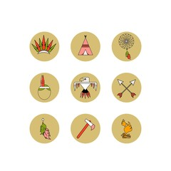 Vector set of icons. The most necessary thing for Indians. Flat style