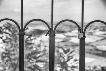 The padlock of love in the city of Montalcino, Tuscany - Italy