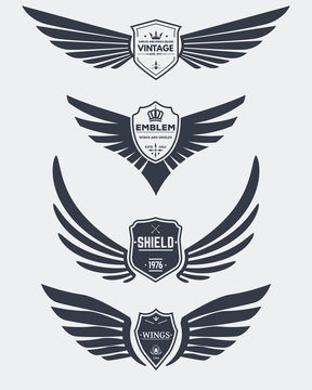 Vintage shields and wings