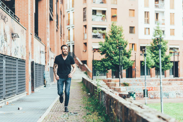 Man running on footpath