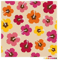 Hibiscus flowers seamless vector pattern