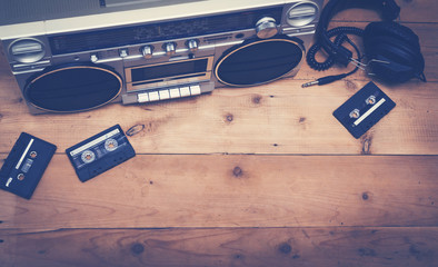 retro stereo set with cassette tapes and headset