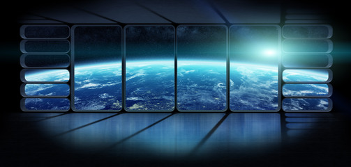 View of the planet earth from a huge spaceship window 3D renderi