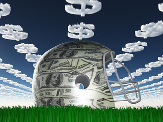 US Currency Helmet on Grass