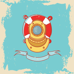 Greeting card with diving helmet and lifebuoy in doodle style