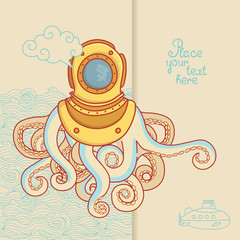 Greeting card with sea monster in diving helmet