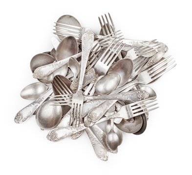 Pile of aged vintage silver cutlery