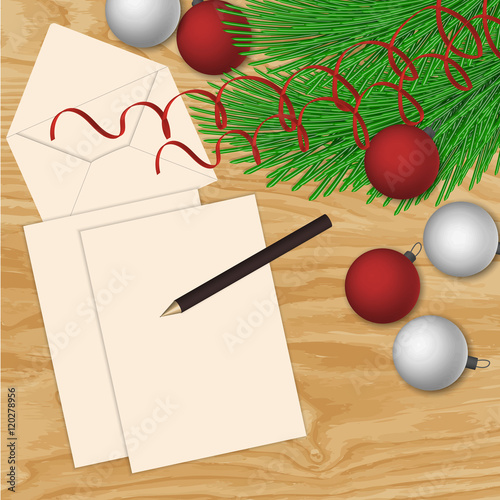 Vector Frame With Vintage Paper And Christmas Decorations Close Up