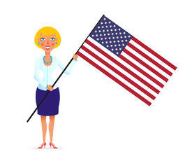 poster to American Independence Day with a blonde wooman cartoon