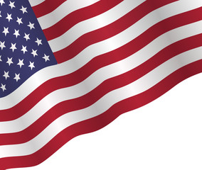 poster to American Independence Day with american flag on white