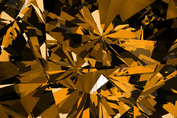 Yellow Diamond and Crystal Close-Up Texture Background, 3d rendering