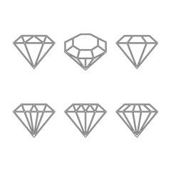 Diamond set icon. Vector Illustration. Shiny crystal sign. Brilliant stone. Black stroke isolated on white background. Fashion modern design. Flat element. Symbol gift, jewel, gem or royal, rich.