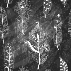 seamless pattern with hand-drawn feathers on chalkboard